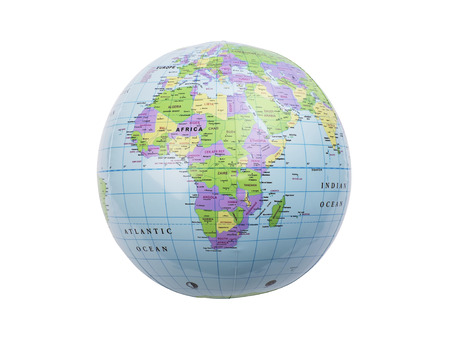 inflated: Inflated plastic earth toy showing Africa