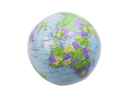 inflated: Inflated plastic earth toy showing Europe
