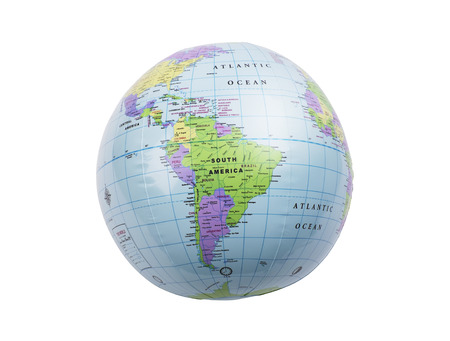 inflated: Inflated plastic earth toy showing South America Stock Photo