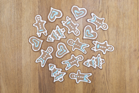 gingerbread cookies: Variety of gingerbread cookies on a wooden background