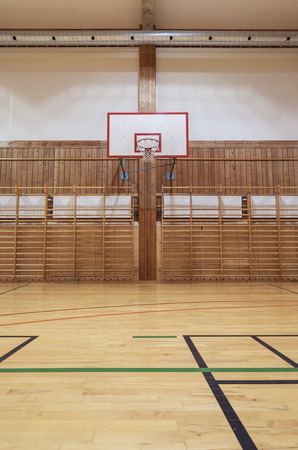 hoop: View from center court in old gymhall Stock Photo