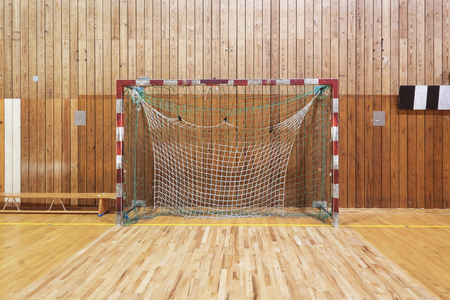 soccer: Soccer goalpost in old gymhall