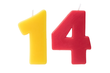 number 14: Colorful birthday candles in the form of the number fourteen on white background