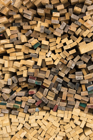 lumber mill: Trimmed and debarked timber planks piled up at a sawmill