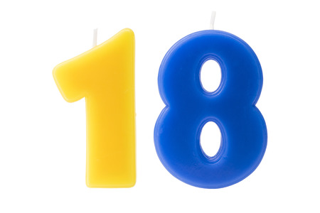 8 years birthday: Colorful birthday candles in the form of the number eighteen on white background