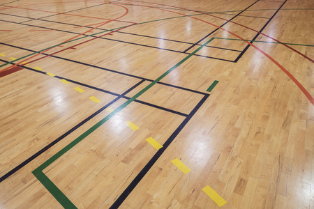Multisport floor in old gymhall Stock Photo