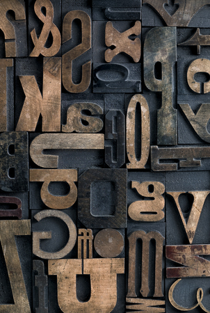 wood blocks: Collection of various wood type letters for printing