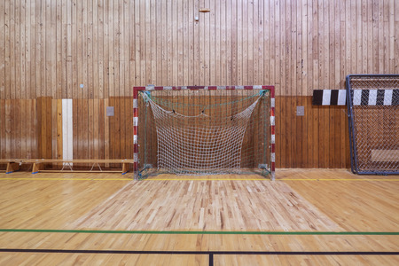 indoor soccer: Old and worn indoor soccer gymhall Stock Photo