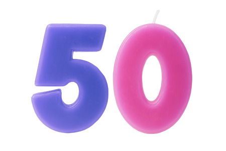 50 number: Colorful birthday candles in the form of the number 50 on white background Stock Photo