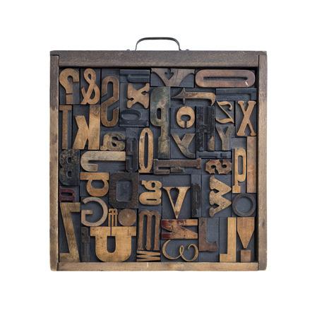 Colección de varias cartas tipo de madera para la impresión