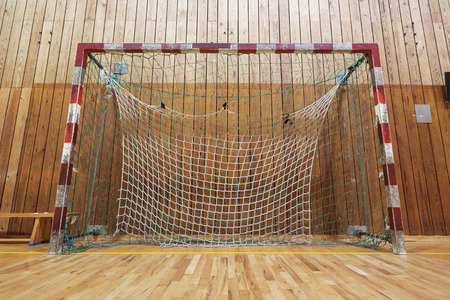 ballgame: Soccer goalpost in old gymhall