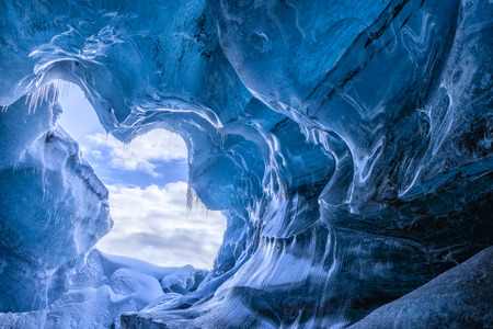 Blue glacier cave in Iceland
