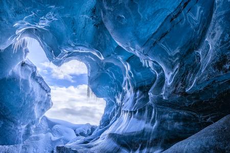 Blue glacier cave in Iceland