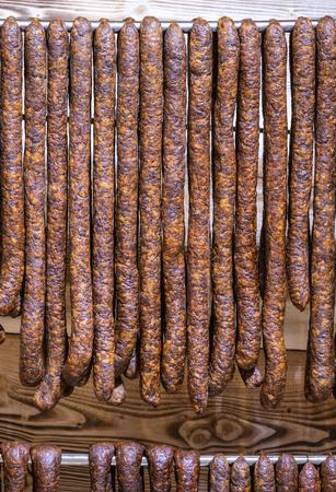 veal sausage: Handmade sausages at display at the foodmarket