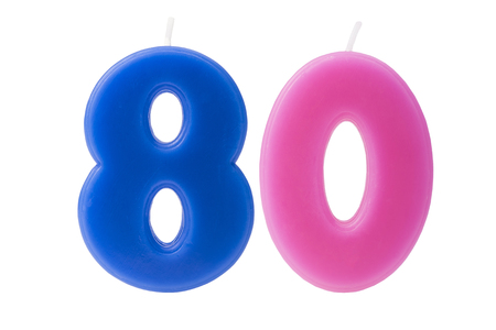 80 year old: Colorful birthday candles in the form of the number 80 on white background