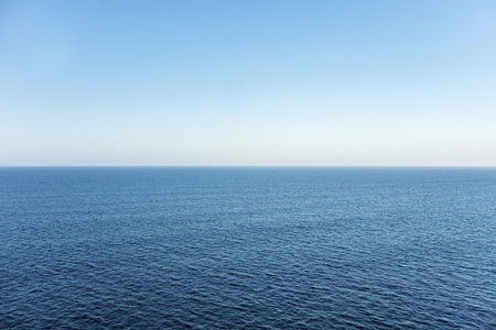 horizon: High view over an ocean horizon on a clear day Stock Photo