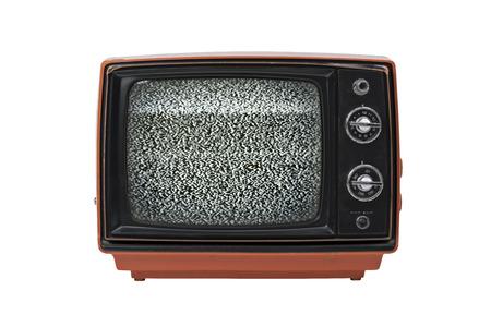 white isolated: Retro television set isolated on white background Stock Photo