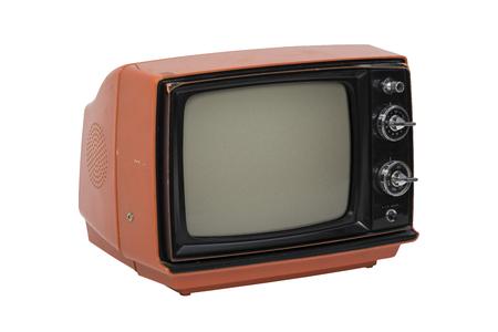 televisor retro aislado en el fondo blanco