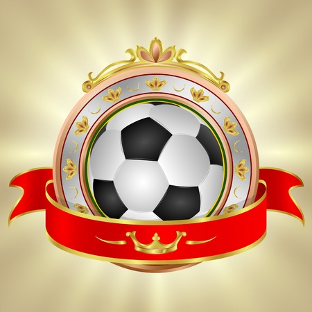 soccer ball emblem with ribbon