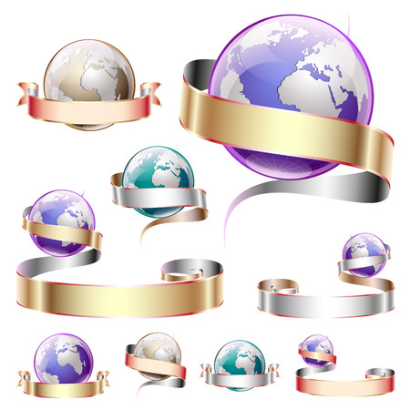 Vector set of icons, a planet with a ribbon
