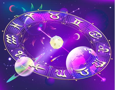 abstract aquarius: Horoscope circle Illustration