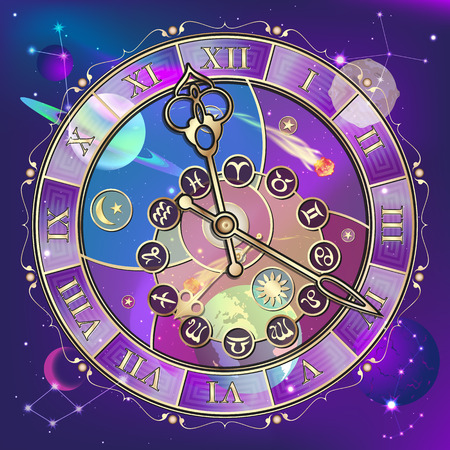 Clock with the astrological signs of the zodiac