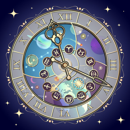 Clock with the astrological signs of the zodiac Vector
