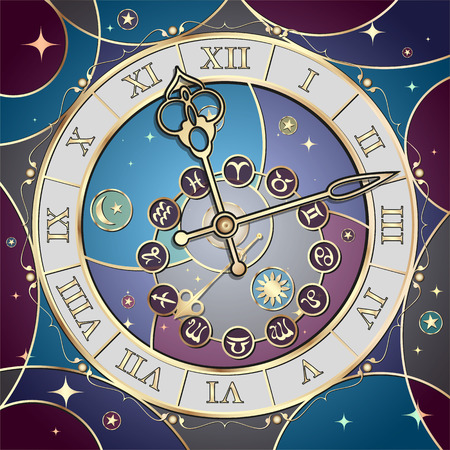 Clock with the astrological signs of the zodiac, the vector