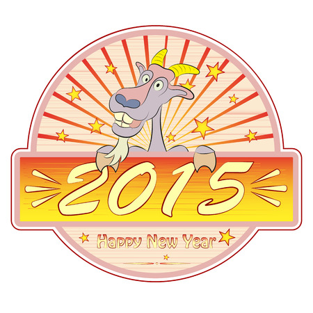 Happy New year 2015.  The symbol of the new year . A greeting card . The goat. Retro frame. vector illustration Illustration