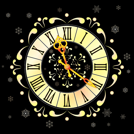 Christmas Athos clock and snowflakes. Stock Vector - 32596933