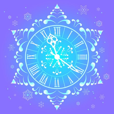 Christmas Athos clock and snowflakes. Stock Vector - 32596935