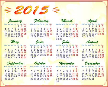 calendar 2015, vector illustration Illustration