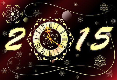 watch new year: Christmas background with clock, banner, vector illustration