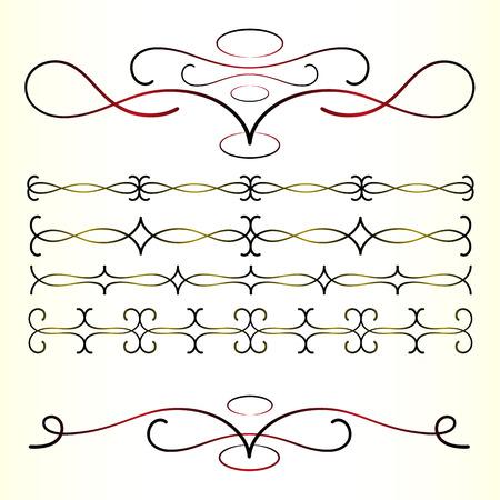 calligraphic design elements vector set