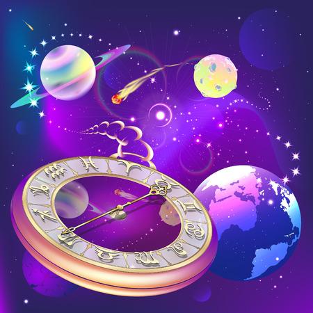 ster achtergrond met klok en de tekens van de dierenriem, vector illustratie Stock Illustratie