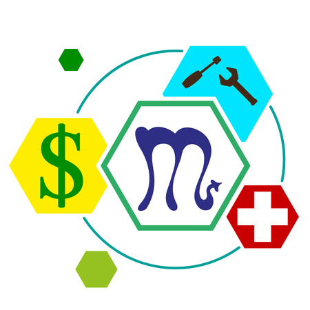 signs of the zodiac in  form  hexagonal buttons, with icons work, medicine, Finance, vector illustration Illustration