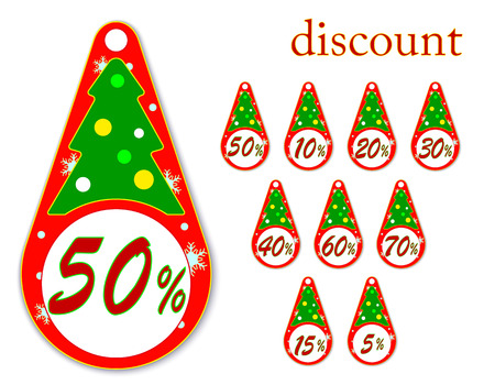 labels with Christmas tree for new years discounts , vector illustration Vector