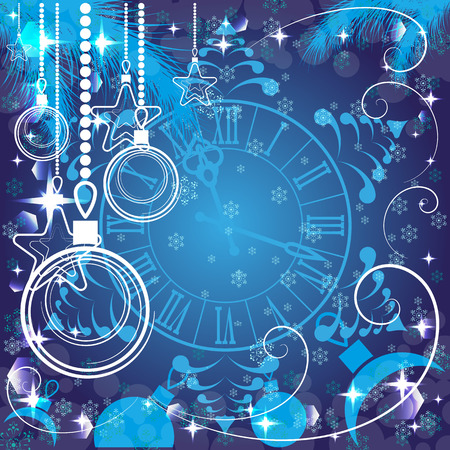 watch new year: blue Christmas background with clock , vector illustration