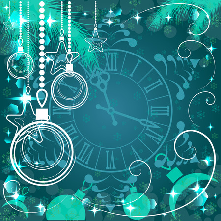 watch new year: green Christmas background with clock , vector illustration