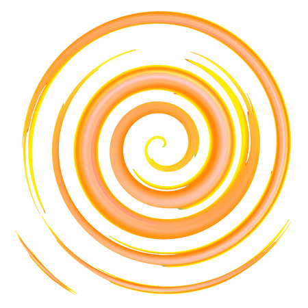 orange watercolor spiral, elements for design, vector illustration