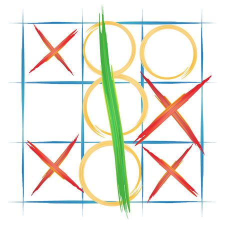 x games: watercolor background, TIC TAC toe, vector illustration Illustration