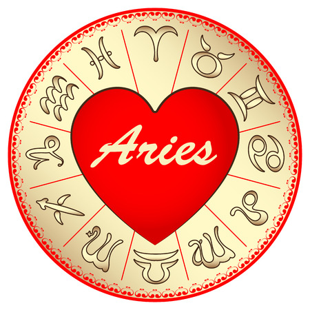 zodiac sign Aries, for lovers on Valentines day, vector illustration Vector