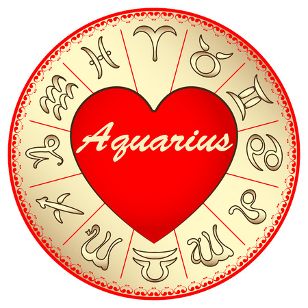 fate: zodiac sign Aquarius, for lovers on Valentines day, vector illustration Illustration