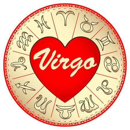 zodiac sign Virgo, for lovers on Valentine Vector