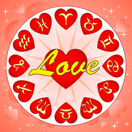 signs of zodiac on Valentines day, horoscope for love, vector illustration