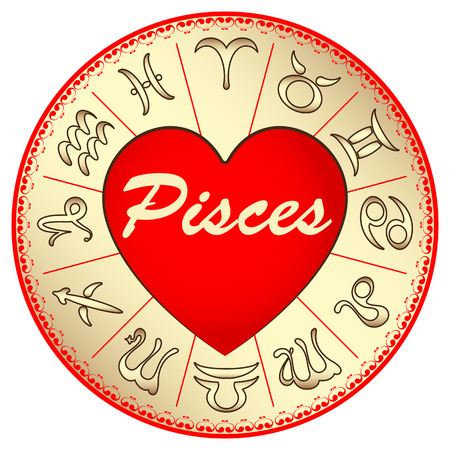 fate: the zodiac sign Pisces, for lovers on Valentines day, vector illustration