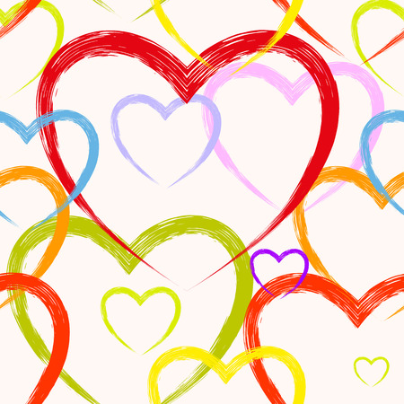 Seamless background of watercolor hearts for Valentines day, vector illustration Vector