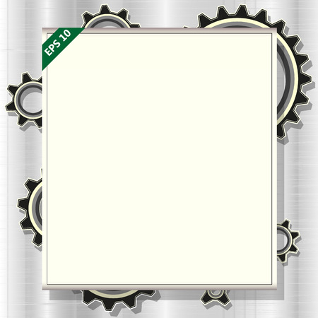 frame for text with gears , vector illustration
