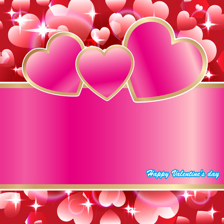 Valentine, card with hearts Vector