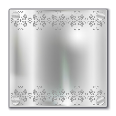 shiny argent: Silver plate with patterns, elements for design, vector illustration
